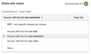 Google docs share
