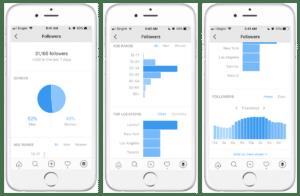 Instagram business profile statistics display
