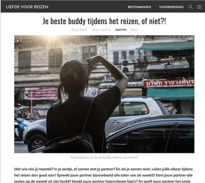 Blog voor T-Mobile mobiel mee tijdens reizen