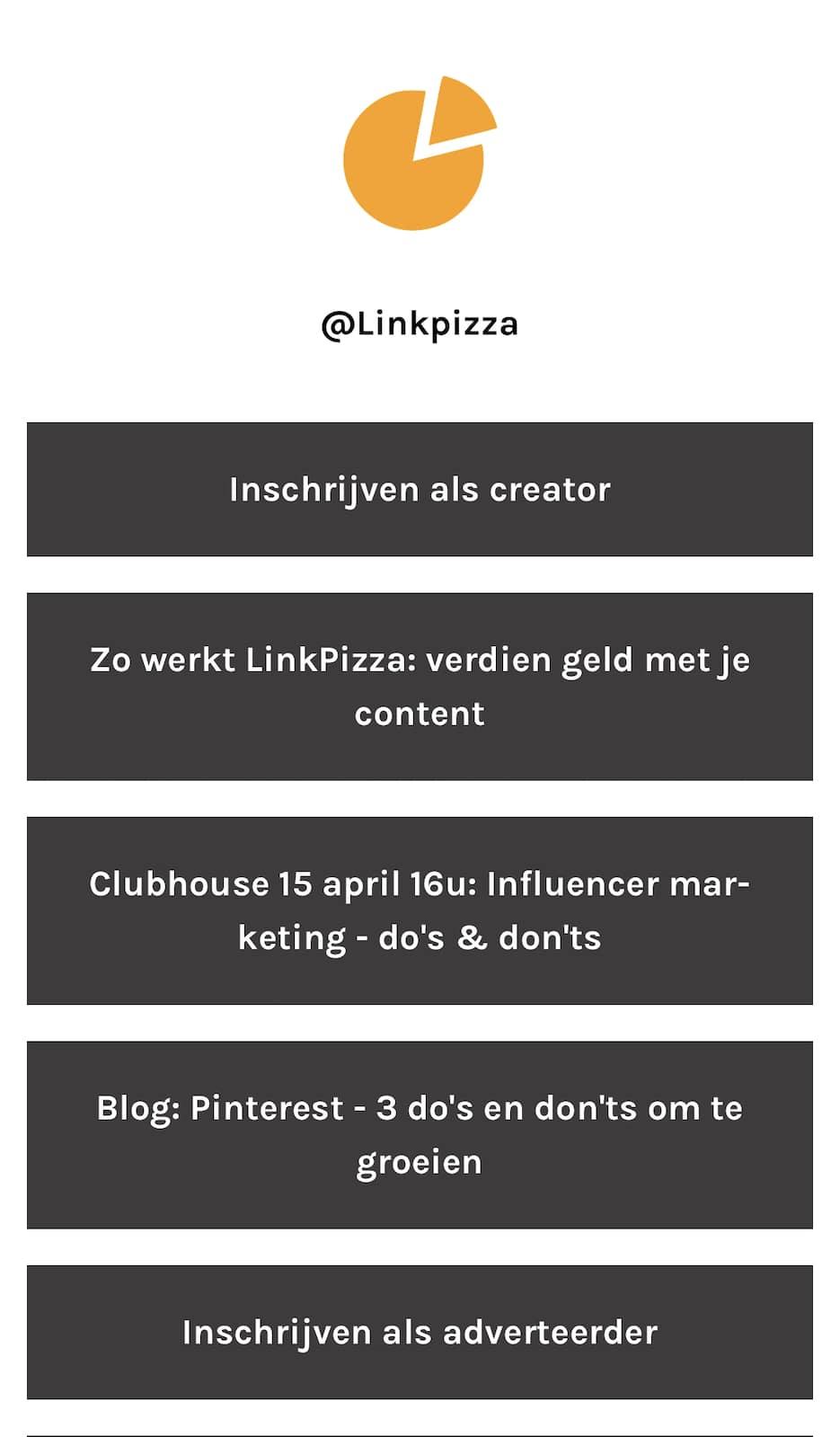 Linktree voorbeeld LinkPizza