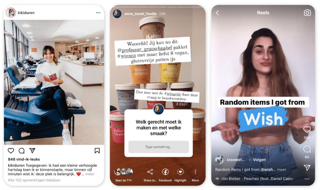 Instagram post story reels