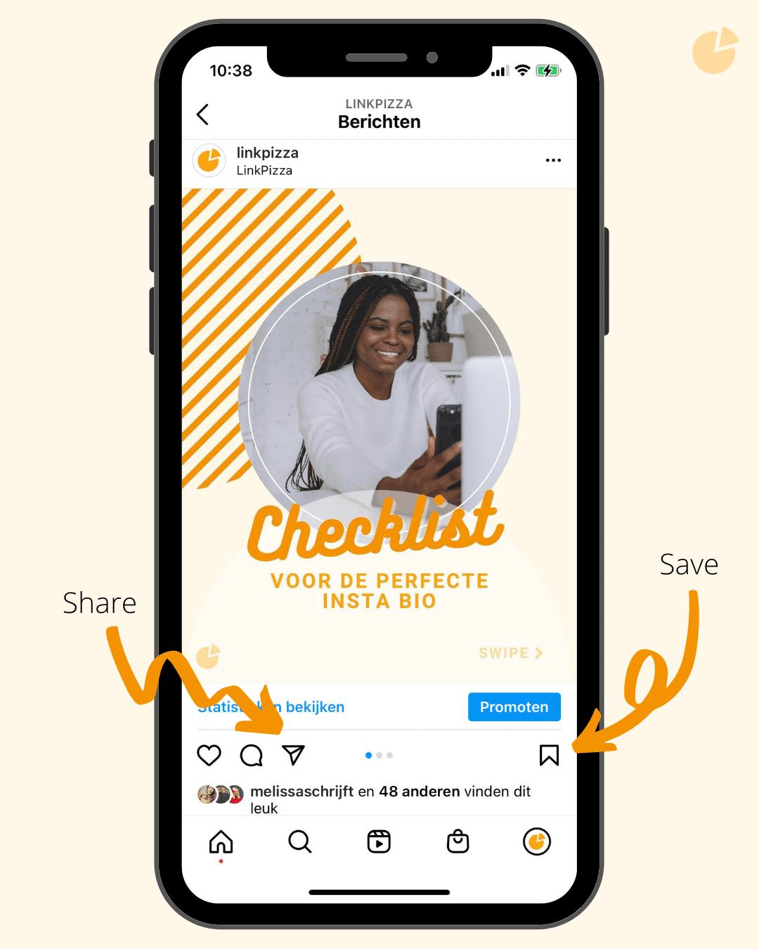 Share en save voorbeeld Instagram