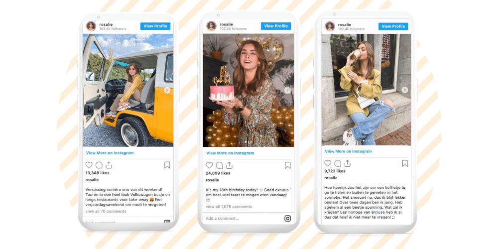 Instagram voorbeelden Rosalie